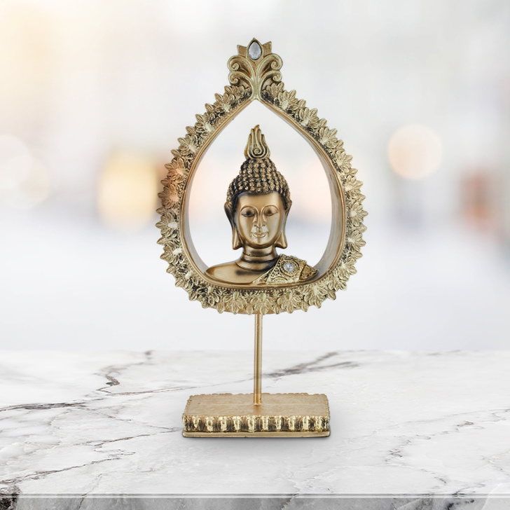 Fio Peace Buddha On Stand Gold Polyresin Idols in Gold Colour by Living Essence