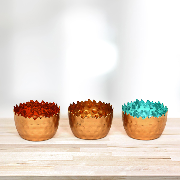 Allure Iron Votive Multicolor 3 Pcs Iron Candle Holders in Multicolor Colour by HomeTown