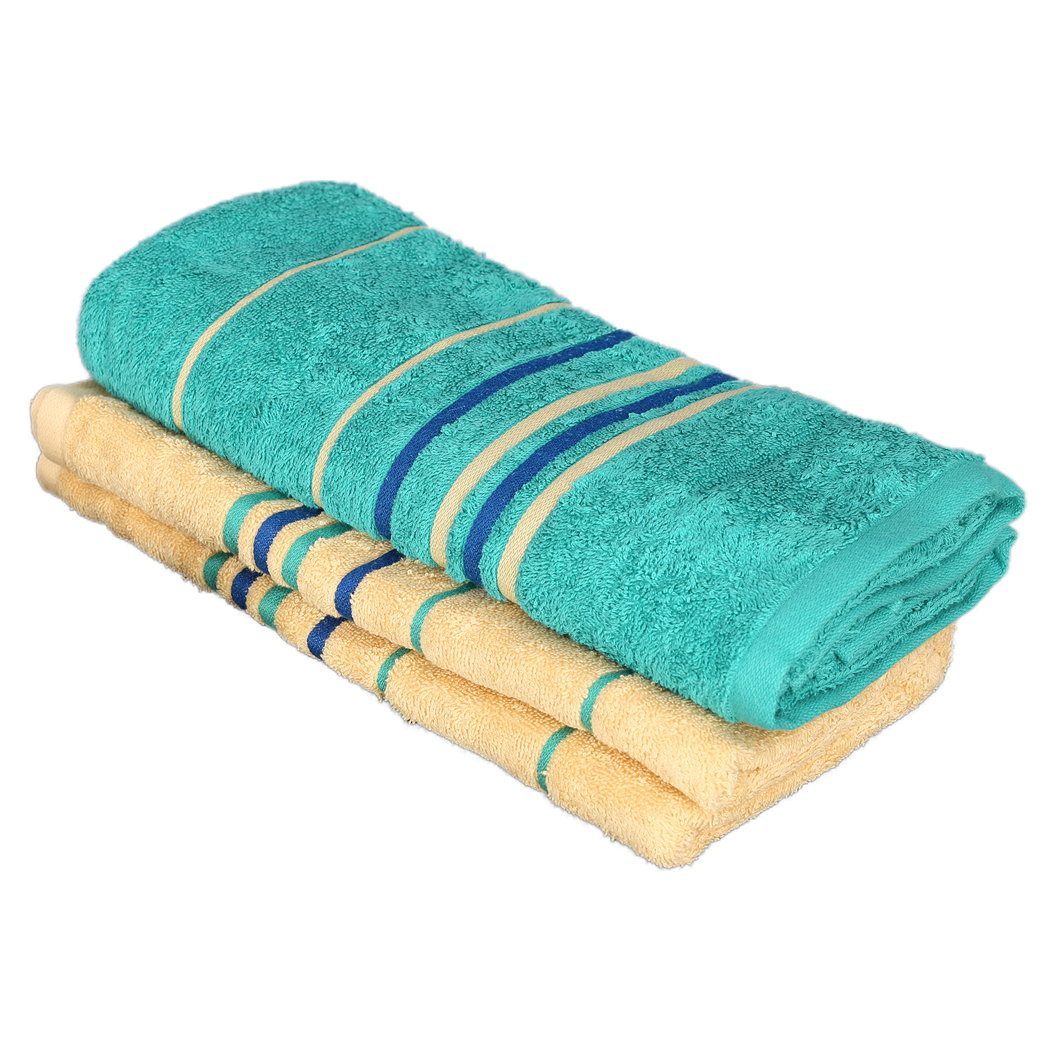 Emilia Bath Towel Butterscotch & Teal Carded Cotton Bath Towels in Butter Scotch & Teal Colour by Living Essence