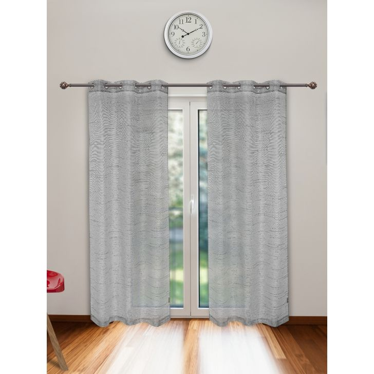 Amour Sheer Set of 2 Polyester Door Curtains in Charcoal Colour by Living Essence