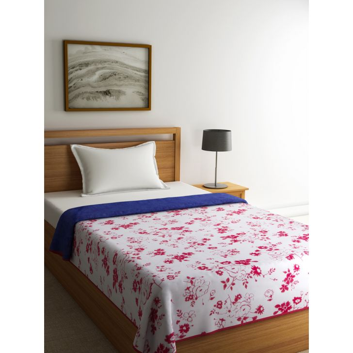 Single Dohar Dew Dreams Blue Red Voile Dohars in Blue, Red, White Colour by Tangerine