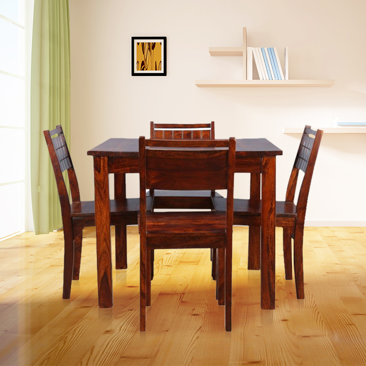 Trelis Solid Wood Four Seater Dining Set in Honey Colour by HomeTown