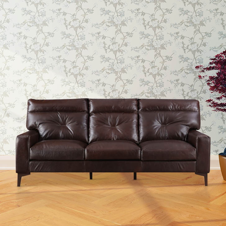 Harris Leather Three Seater Sofa in Brown Colour by HomeTown