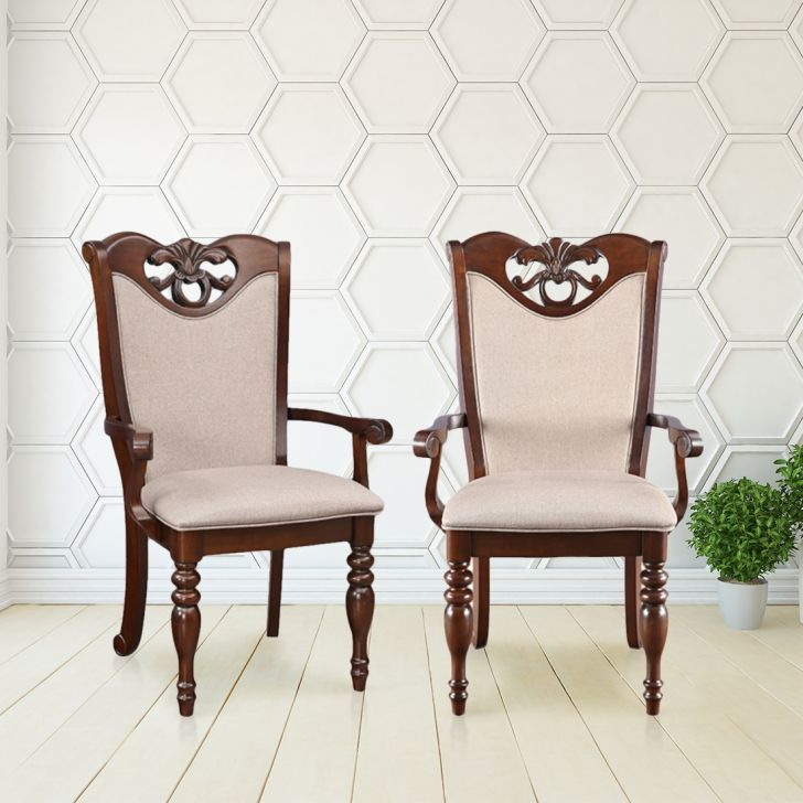 Hubert Solid Wood Dining Chair With Arm Set of Two in Dark Brown Colour by HomeTown
