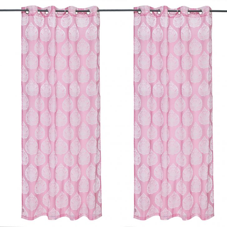 Amour set of 2 Polyester Door Curtains in Rose Colour by Living Essence