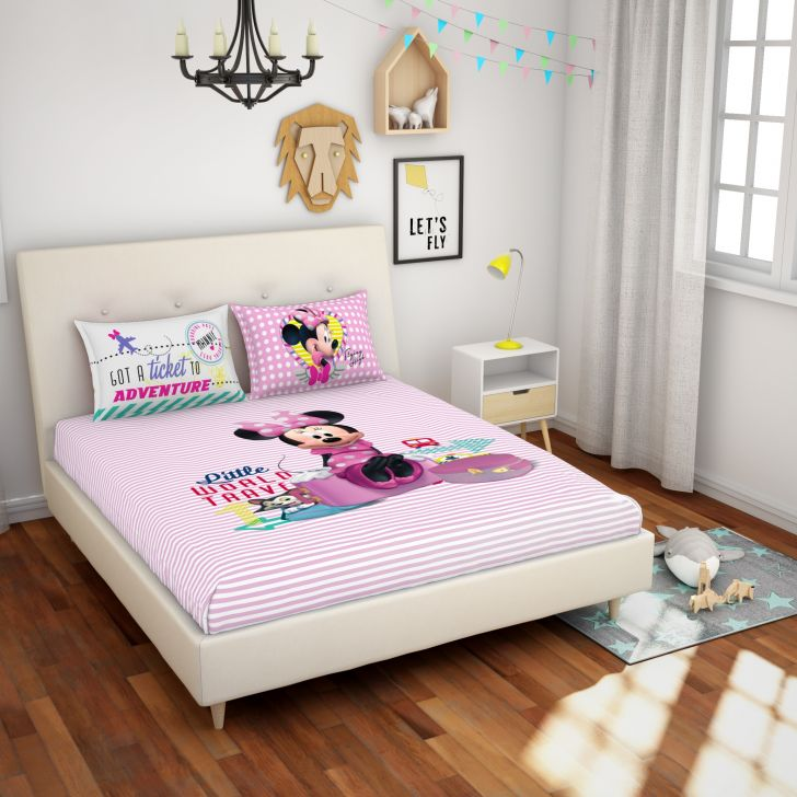 Spaces Disney Pink Cotton Double Bedsheet With 2 Pillow Covers