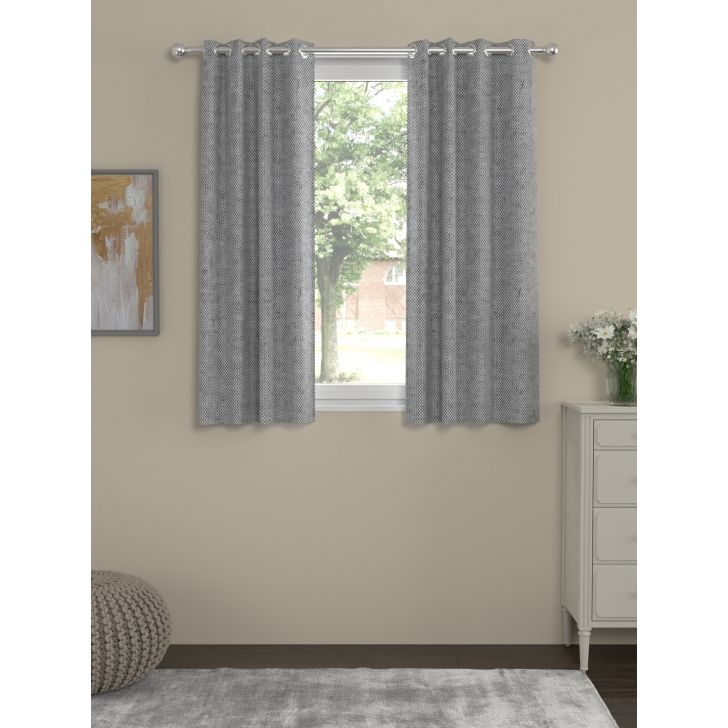 Rosara Home Polycotton Curtain in Grey Colour