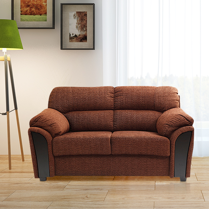 Ohio Fabric Two Seater Sofa in Brown Colour by HomeTown