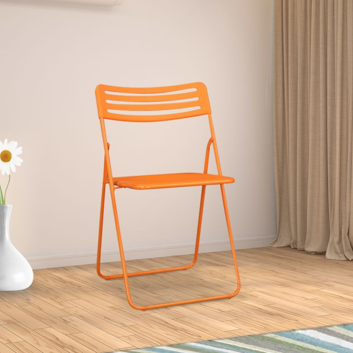 Liana Metal Folding Chair in Orange Colour by HomeTown