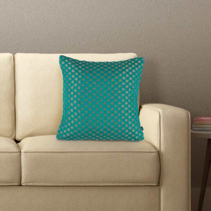 Noir Cushion Cover Polyester Cushion Covers in Teal Colour by Living Essence