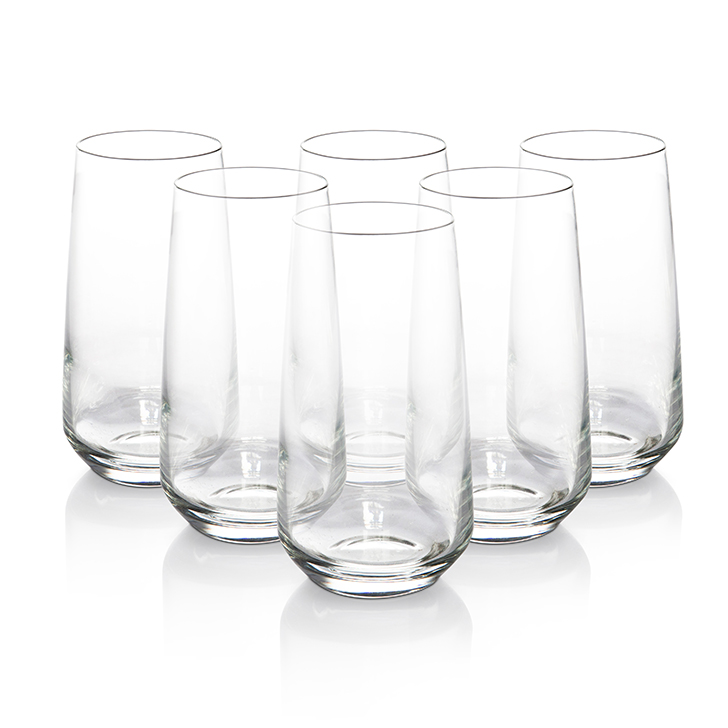 Lyra Lal Long Drink Glasses 480 Ml Glass Glasses & Tumblers in Transprant Colour by Lyra