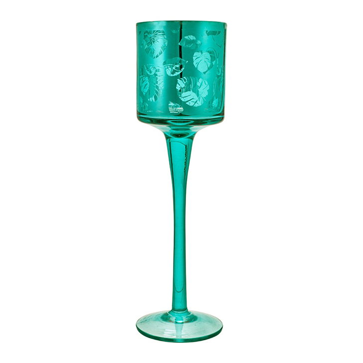 Vanessa Set of two Straight Top Glass Candle Holders in Green Colour by Living Essence