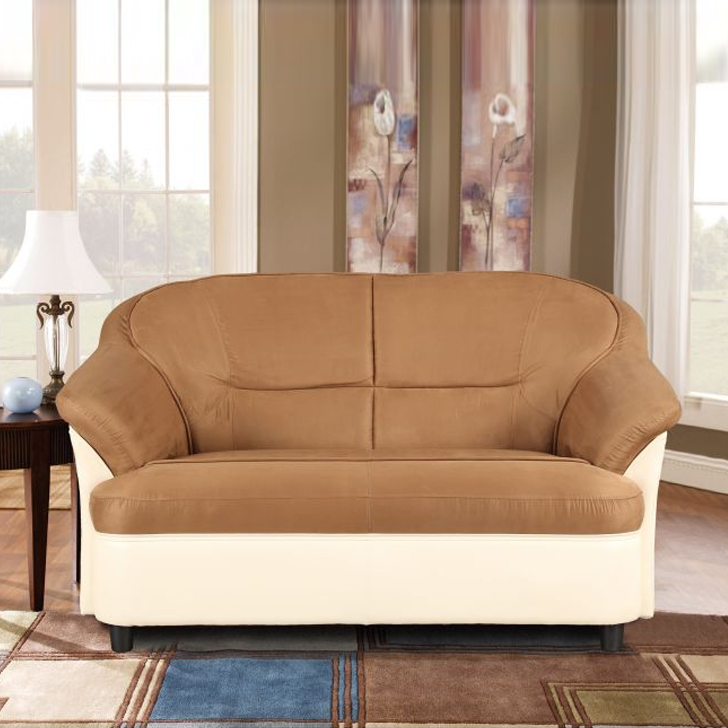Lamia Fabric Two Seater sofa in Ivory Colour by HomeTown