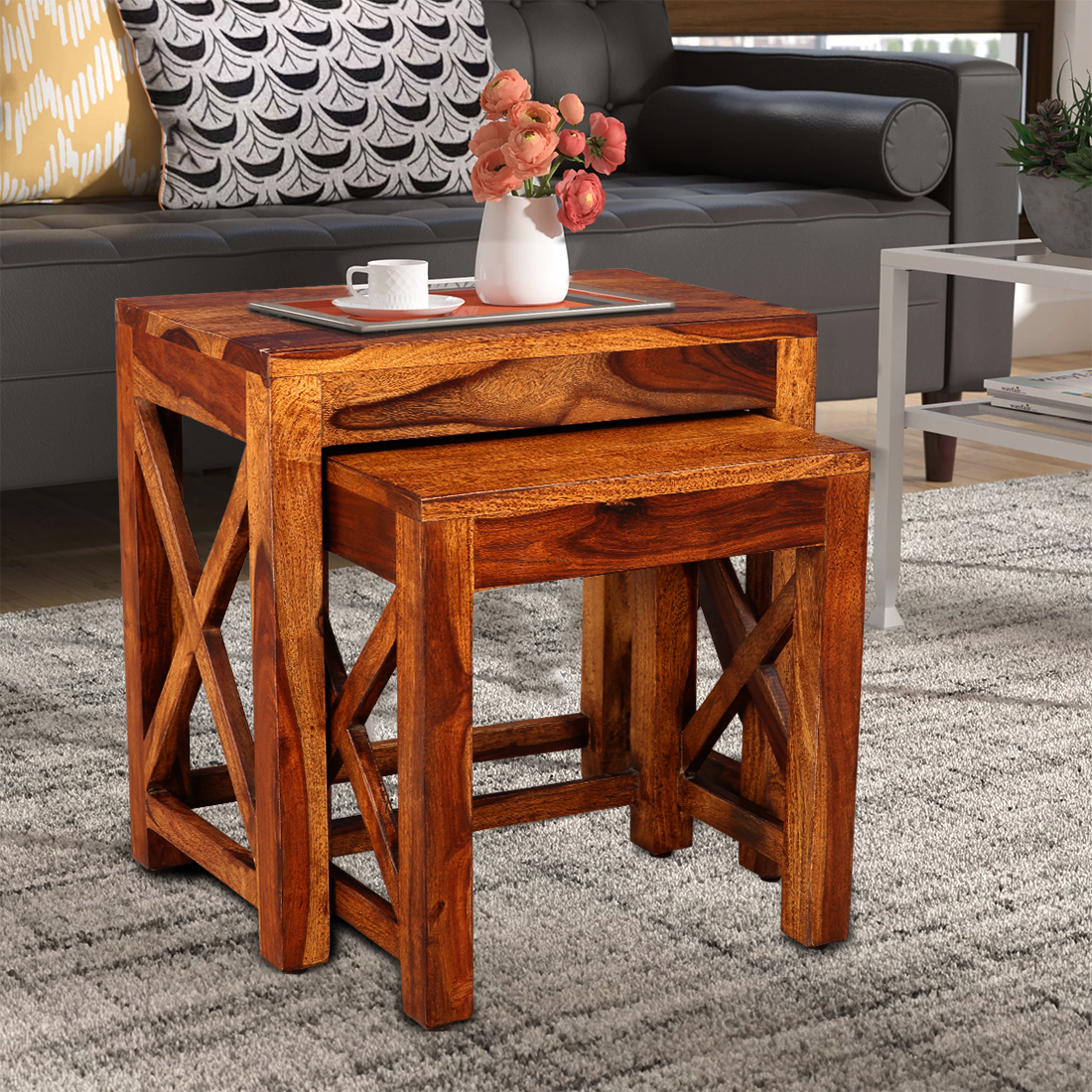 Evan Solid Wood Nesting Table in Wenge Colour by HomeTown