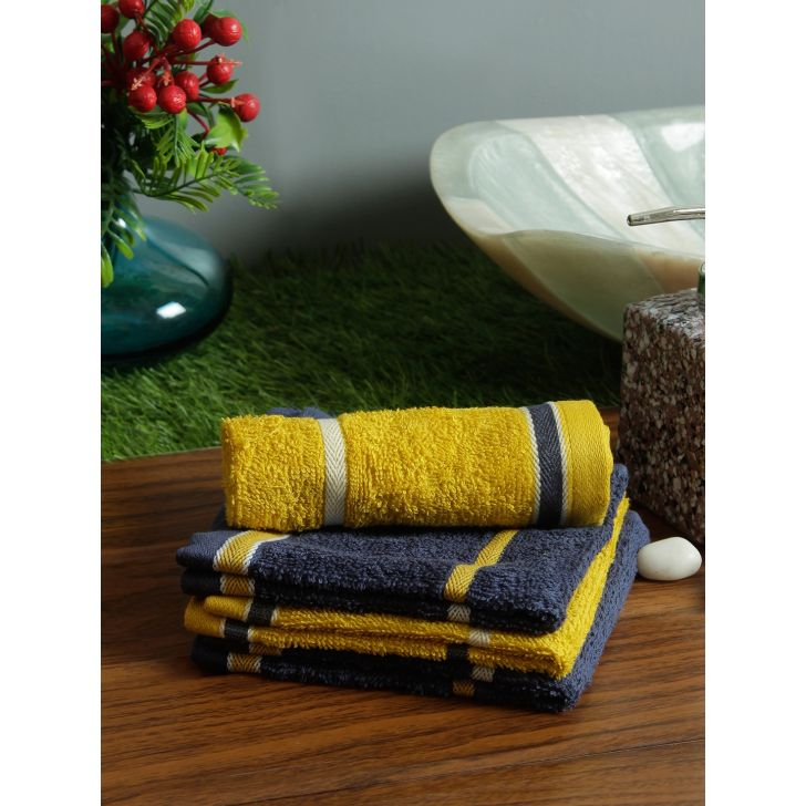 Set of 4 Emilia Cotton Face Towels in Charcoal Gold Colour by Living Essence