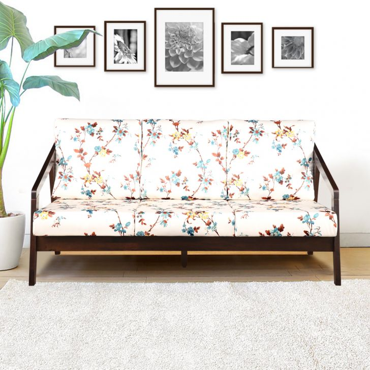 Borris Solid Wood Three Seater Sofa with Cushion in Floral Colour by HomeTown
