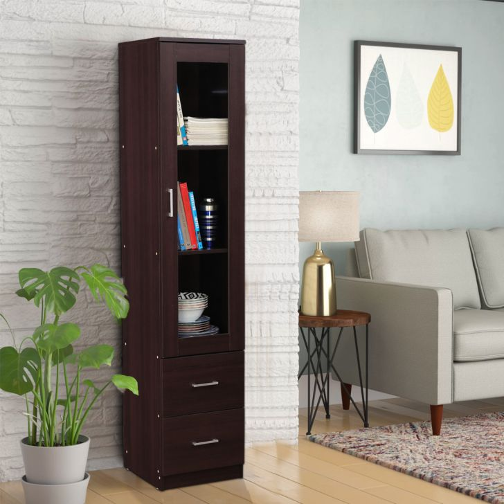 Finn Engineered Wood Storage Cabinet in Beech Chocolate Colour by HomeTown