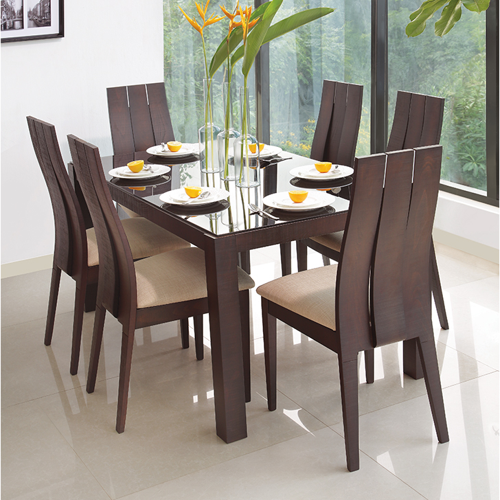 Carlton Solid Wood Six Seater Dining Set in Burn Beech Colour by HomeTown
