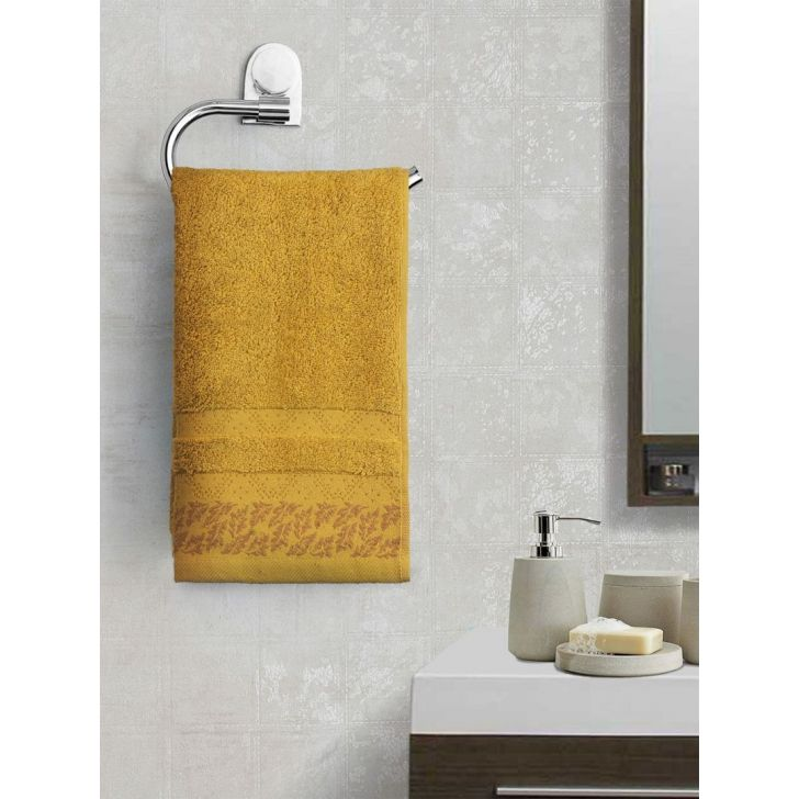 Portico New York Ariana Jacquard : B Hand Towel in Mustard Color by Portico