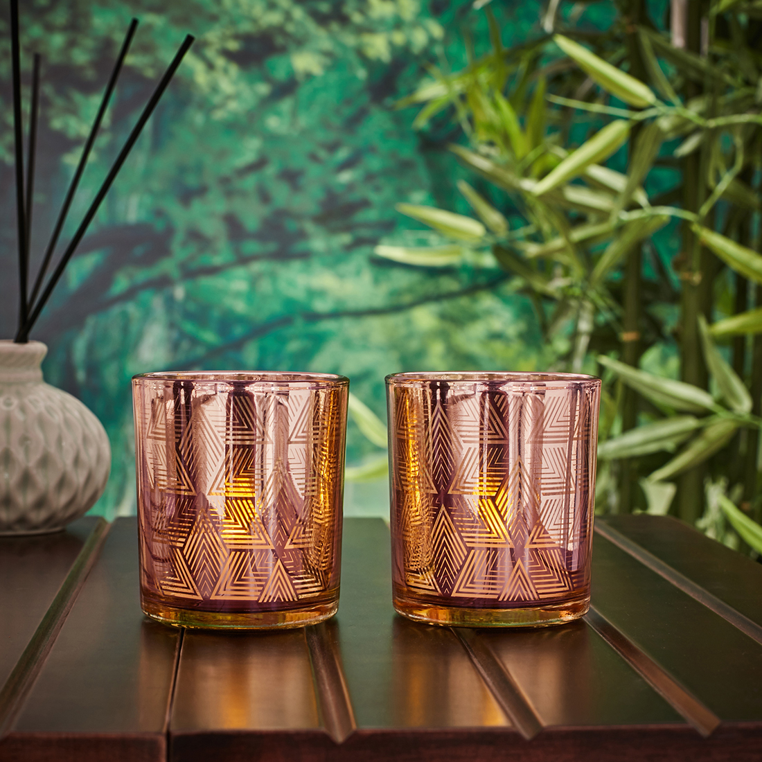 Zahara Set Of 2 Geo Etched Glass Candle Holders in ROSE GOLD Colour by Living Essence