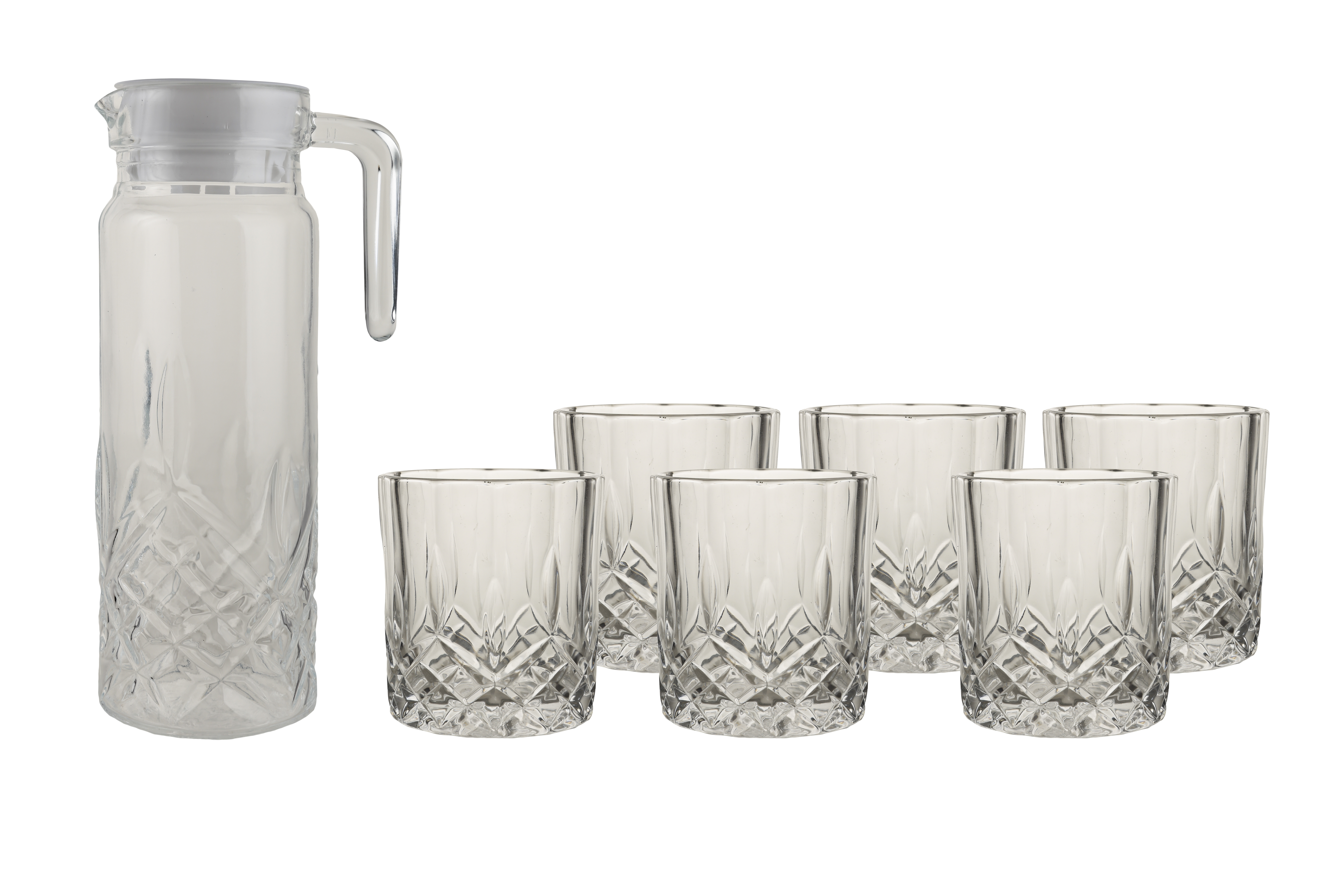 Crescent Set Of Seven & Set Glass Bar Glassware in Transparent Colour by HomeTown