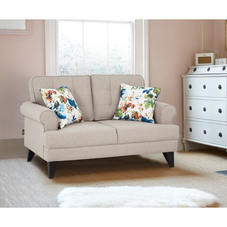 Paddington Fabric Two Seater Sofa in Beige Colour by HomeTown