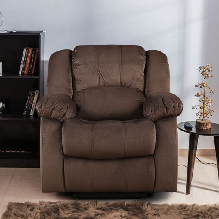 Rhea Fabric Single Seater Recliner in Brown Colour by HomeTown