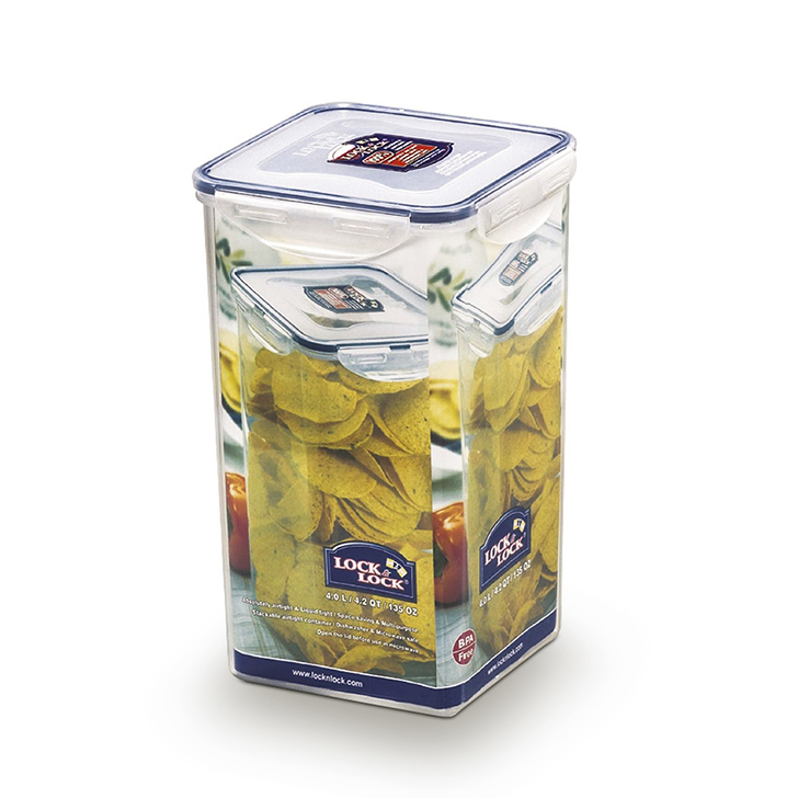 Lock & Lock Classics Tall Square Food Container 4 Ltr Polypropylene Containers in Transparent Colour by Lock & Lock