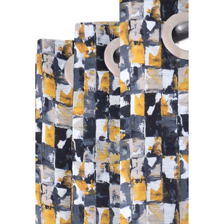Cascade Block By block Polyester Door Curtain in Black Colour
