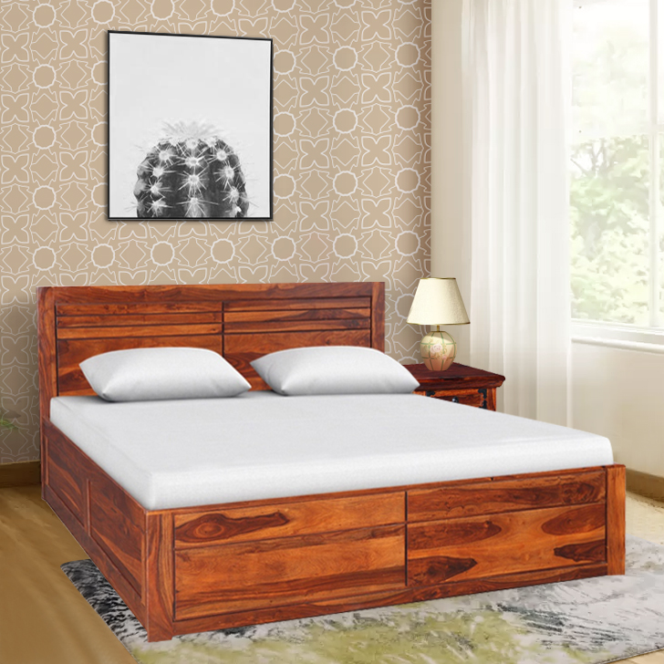 Sicily Sheesham Wood(Rosewood) Box Storage Queen Size Bed in Honey Colour by HomeTown
