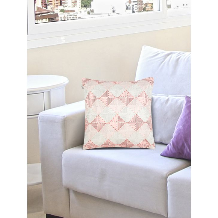 Chic Affair Geo Grid Polyester Cushion Covers in Offwhite Rose Colour by Living Essence