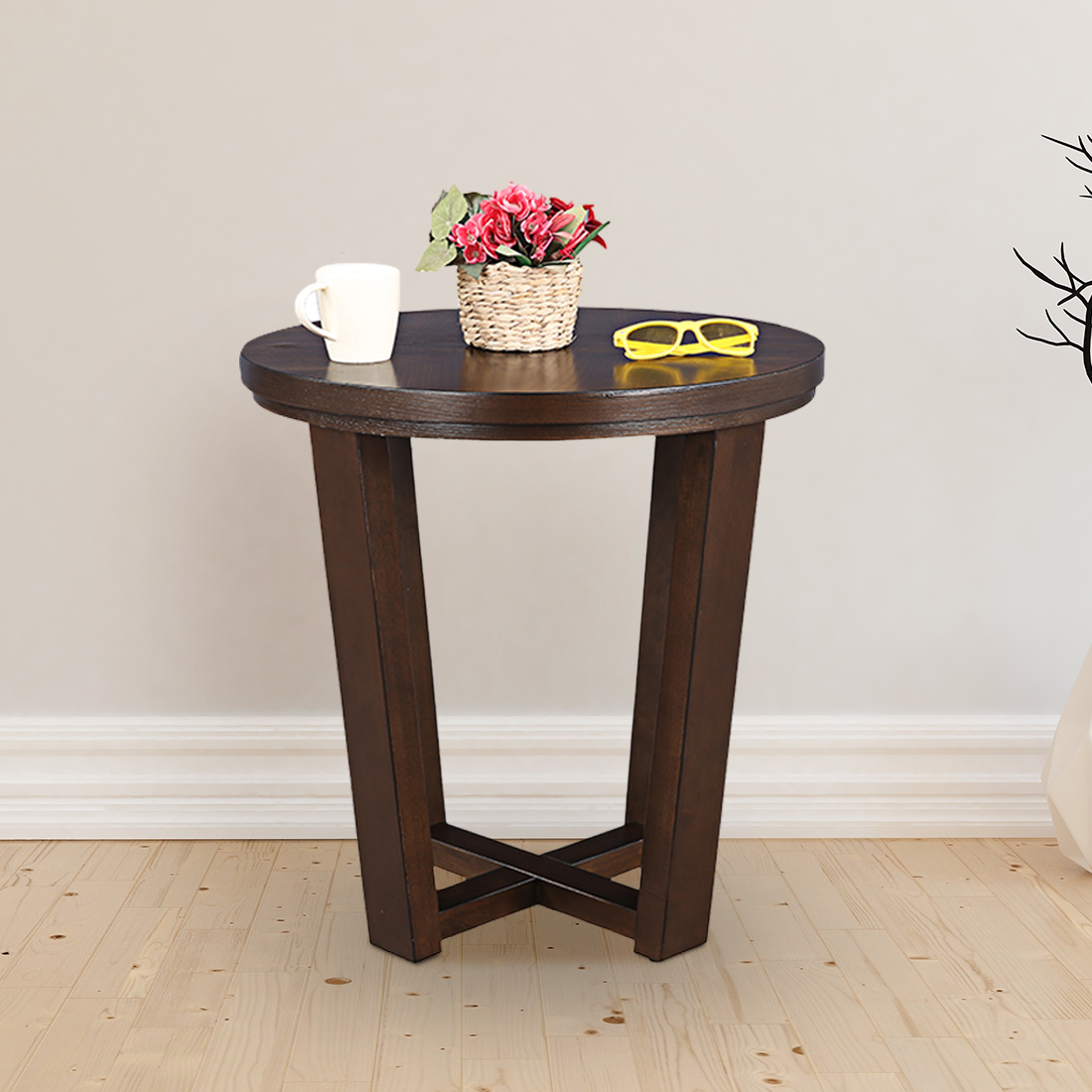 Ryan Solid Wood Side Table in Brown Colour by HomeTown