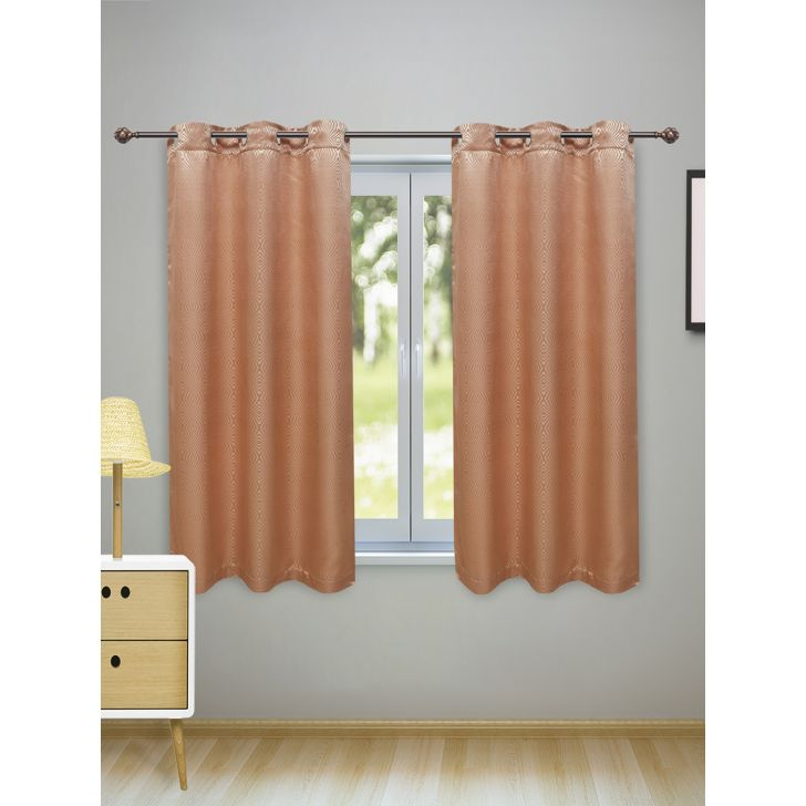 Fiesta Set of 2 Polyester Window Curtains in Beige Colour by Living Essence