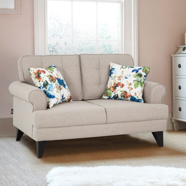 Miller Fabric Two Seater Sofa in Beige Colour by HomeTown