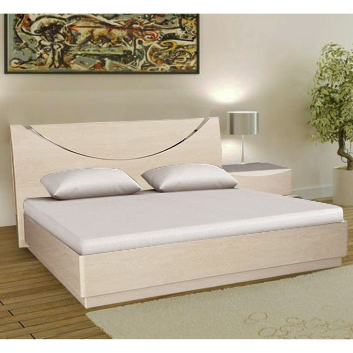 Aurelia Engineered Wood King Size Bed in High Gloss Light Maple Colour by HomeTown