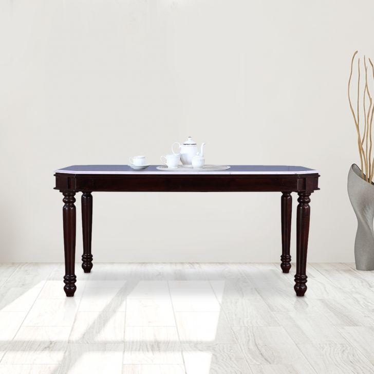 Royal Solid Wood Marble Top Six Seater Dining Table in Dark Walnut Colour by HomeTown
