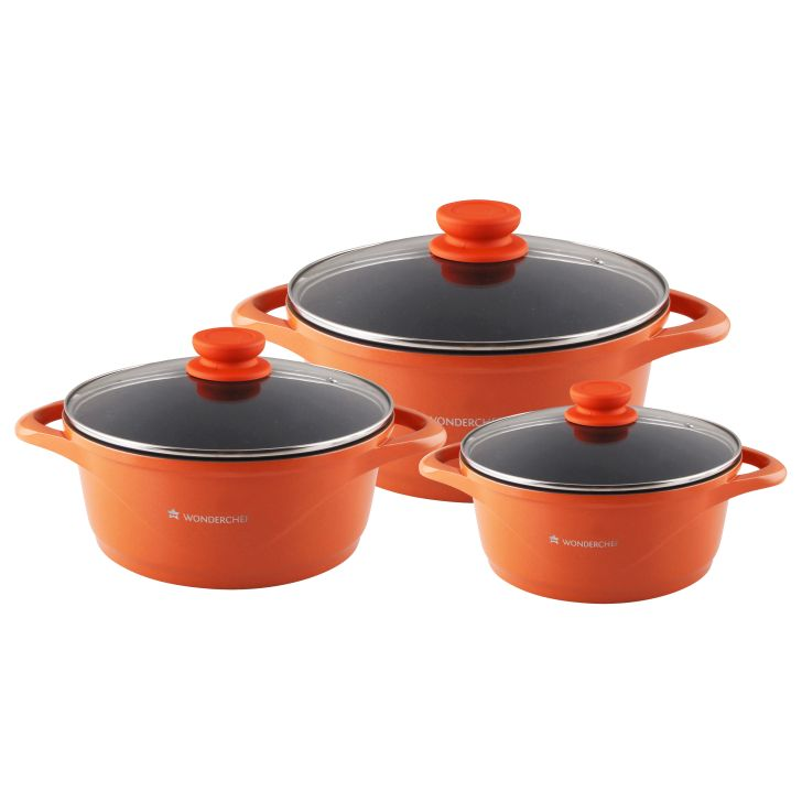 Wonderchef Ceramide Set Orange Aluminium Cookware Sets in Orange Colour by Wonderchef