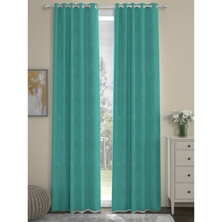 Solid Long Door Curtain In Light Blue Color By Rosara Home