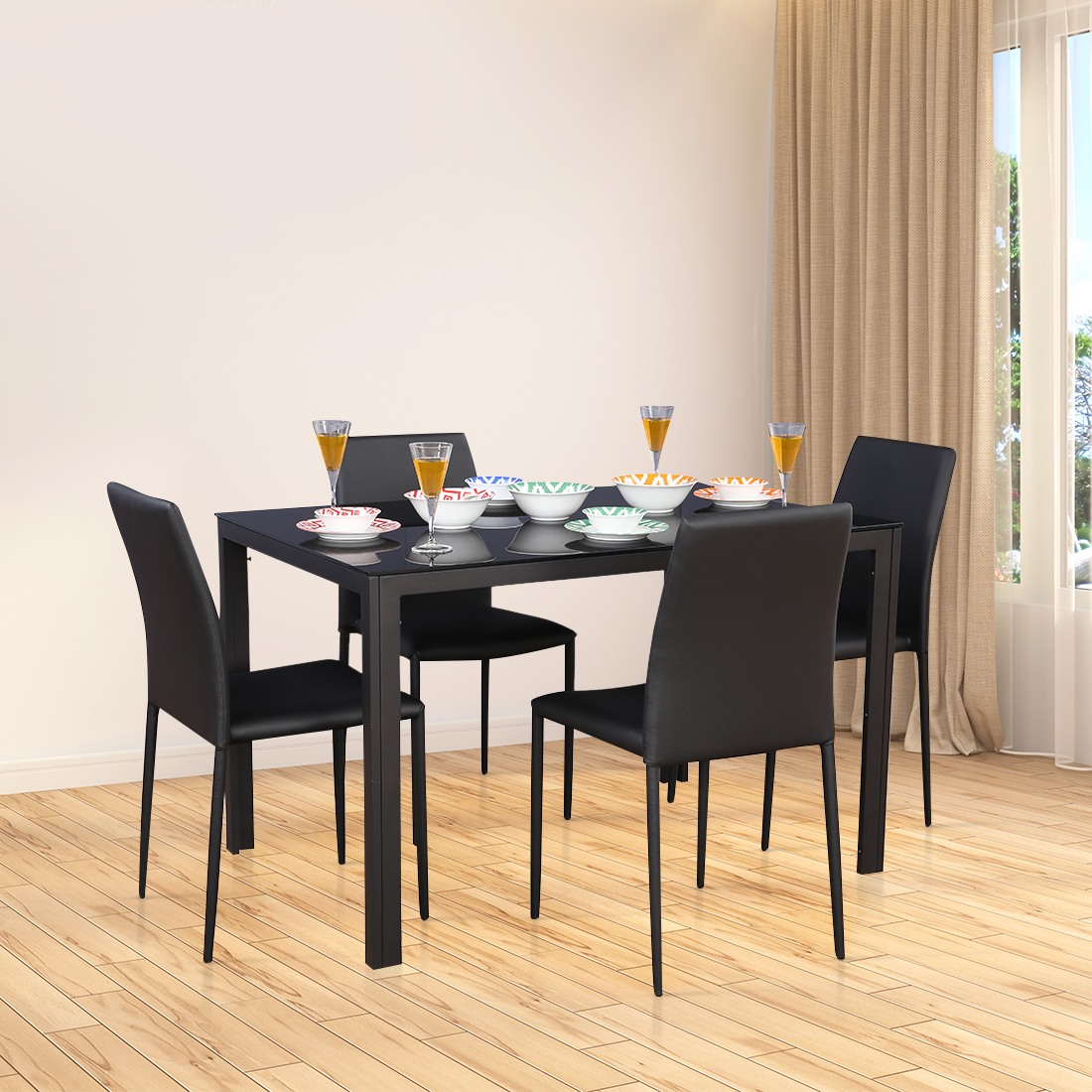 Modric Mild Steel Four Seater Dining Set in Black Colour by HomeTown