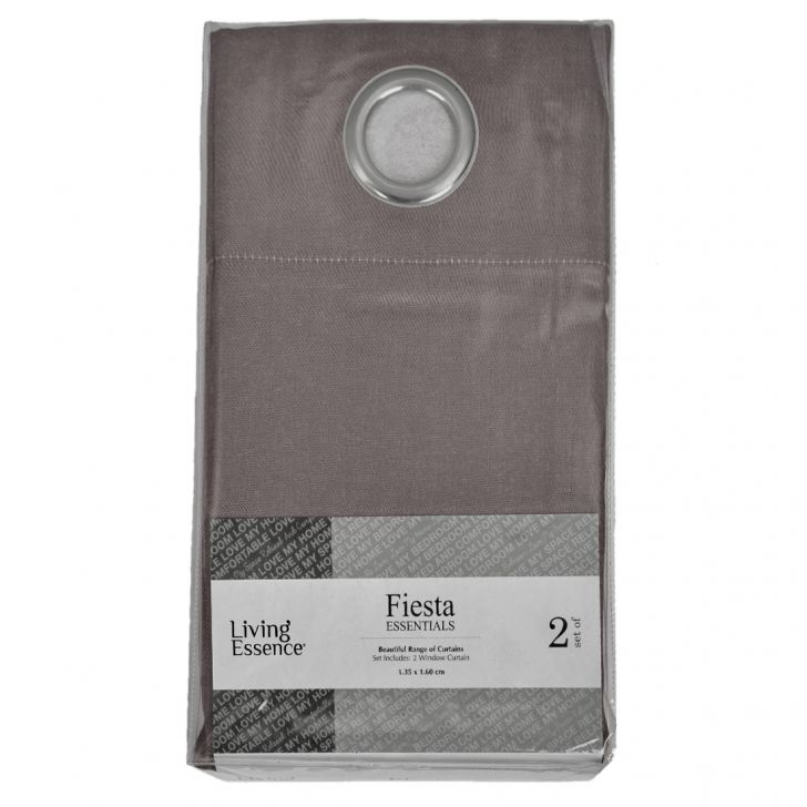Fiesta Essential Polyester Window Curtains in Grey Colour by Living Essence