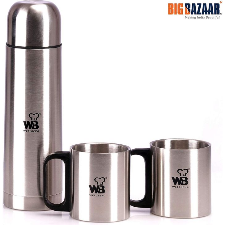 Vacuum Flask 500 ML & 2 Pcs Coffee Mug 200 ML with 1 Pcs Bag Stainless Steel Vaccuum Flask in Silver Colour by Wellberg