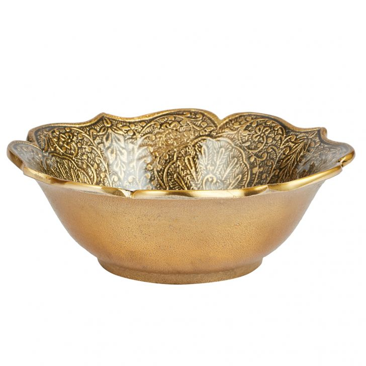 Nivaan Small Peacock Enamel Bowl Metal Table Decor in Silver Colour by Living Essence