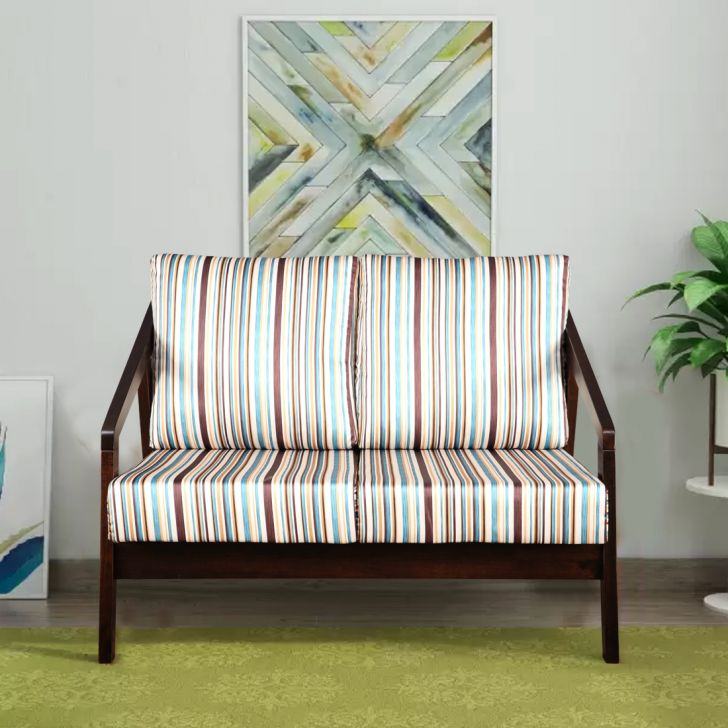 Borris Solid Wood Two Seater Sofa With Cushions in Stripes Colour by HomeTown