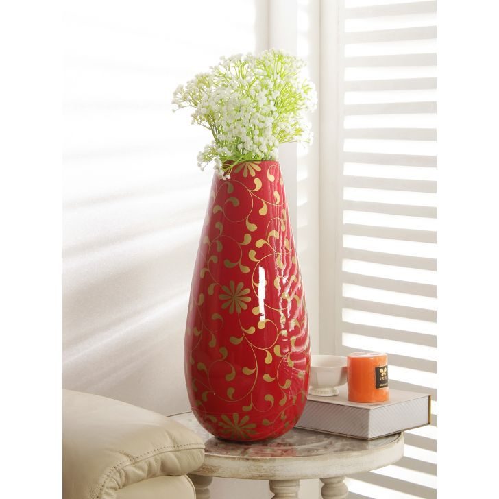 Groot Bamboo Vase in Maroon Colour by HomeTown