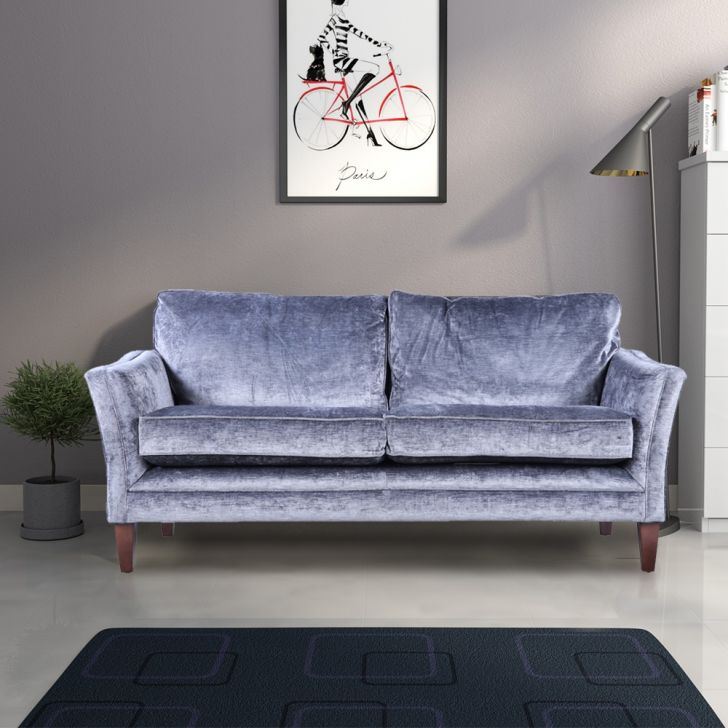 Aldeburgh Solid Wood Two Seater Sofa in Vilandry Charcoal Colour