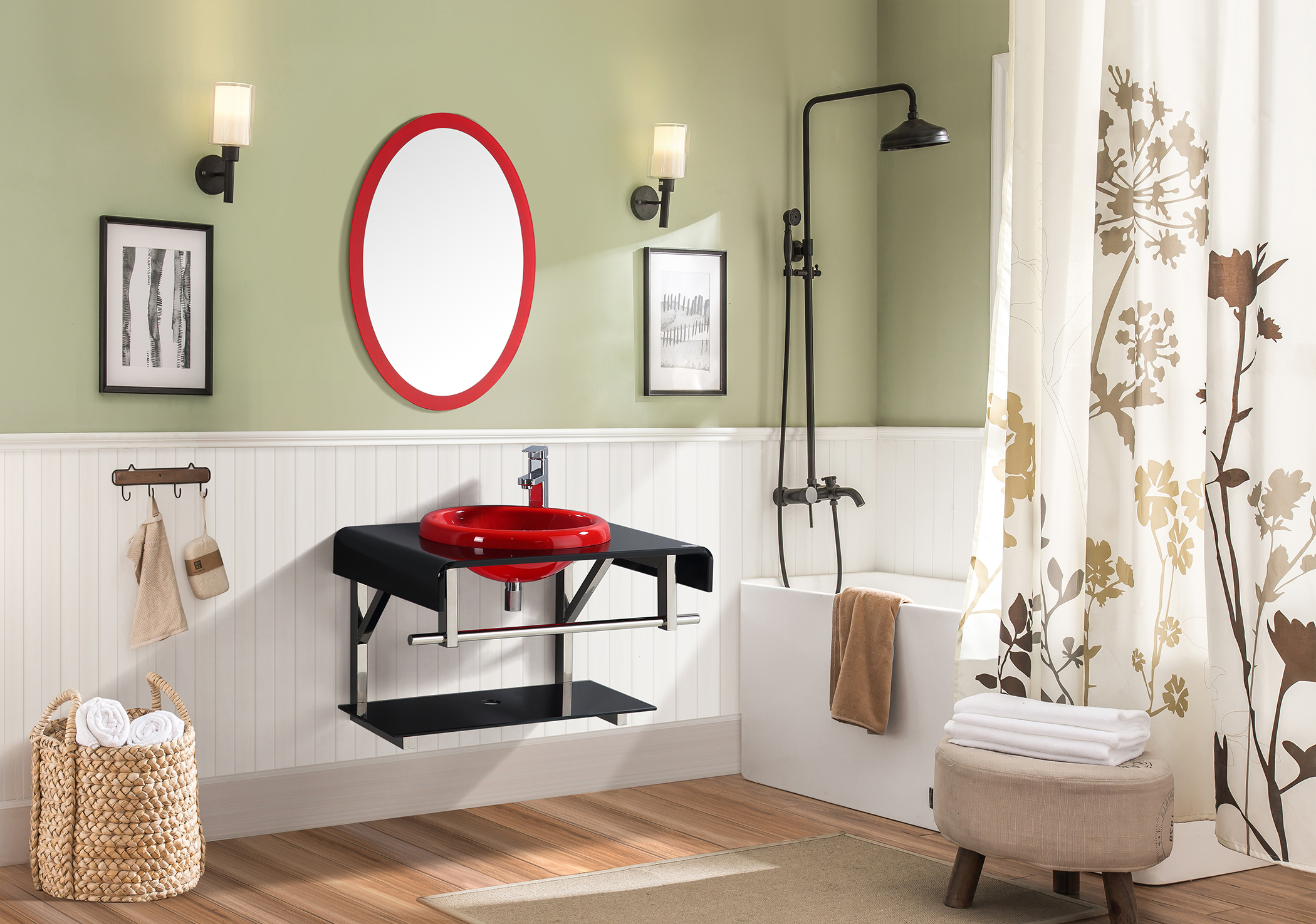 Vibes Bath Vanity in Black & red Colour by HomeTown