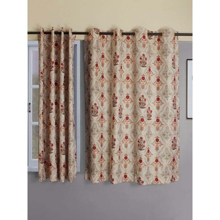 Set of 2 XL Nora Print Butta Polyester Door Curtains in Beige Colour by Living Essence