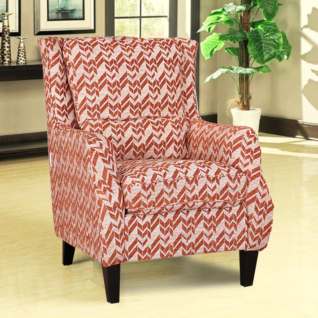 Patricia Fabric Arm Chair in Rust Colour by HomeTown