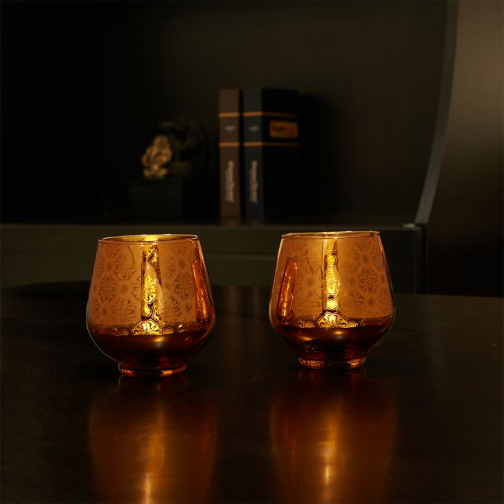 Zahara Set Of 2 Round Flower Glass Candle Holders in Orange Colour by Living Essence